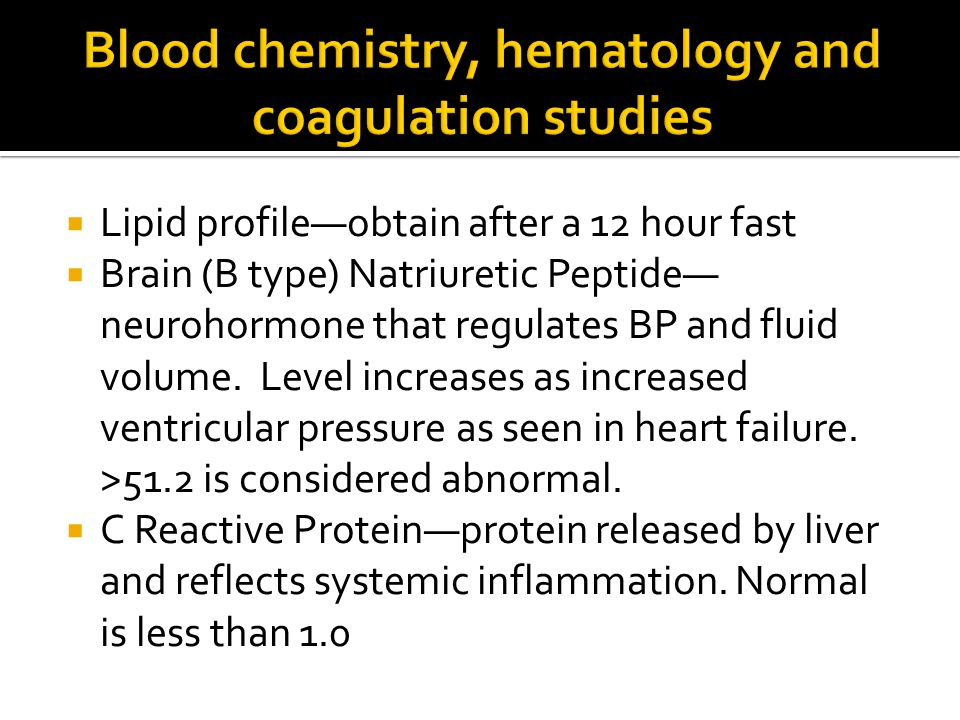 Blood chemistry, hematology and coagulation studies