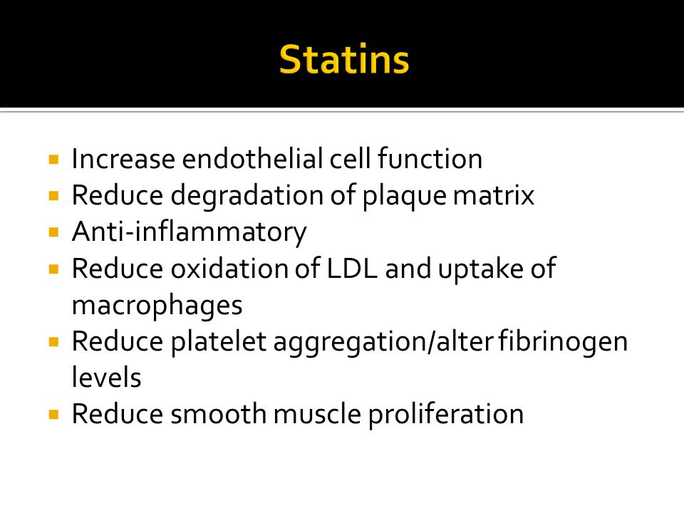 Statins Increase endothelial cell function