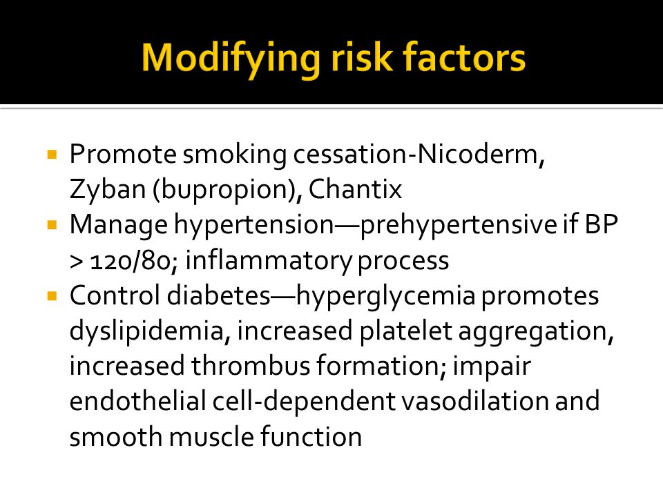 Modifying risk factors