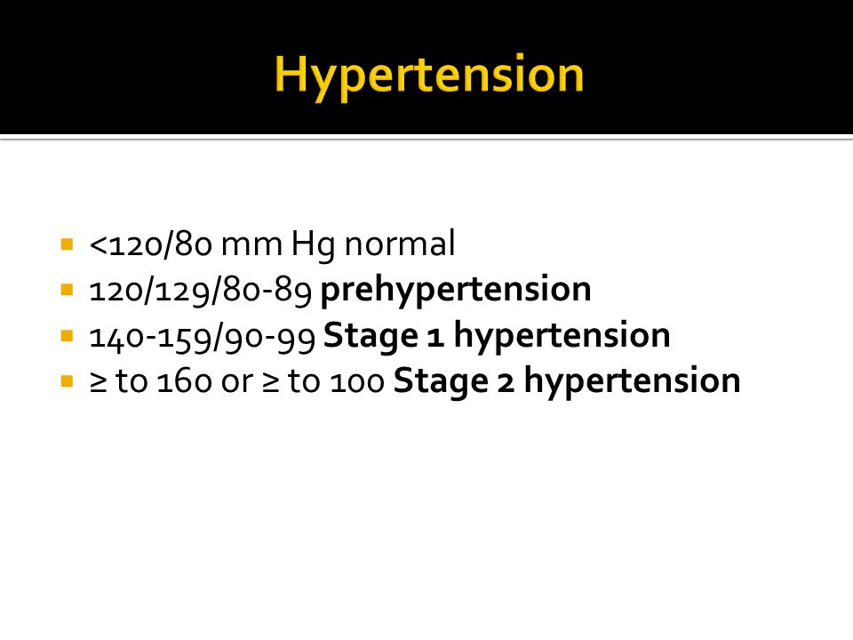 Hypertension <120/80 mm Hg normal 120/129/80-89 prehypertension