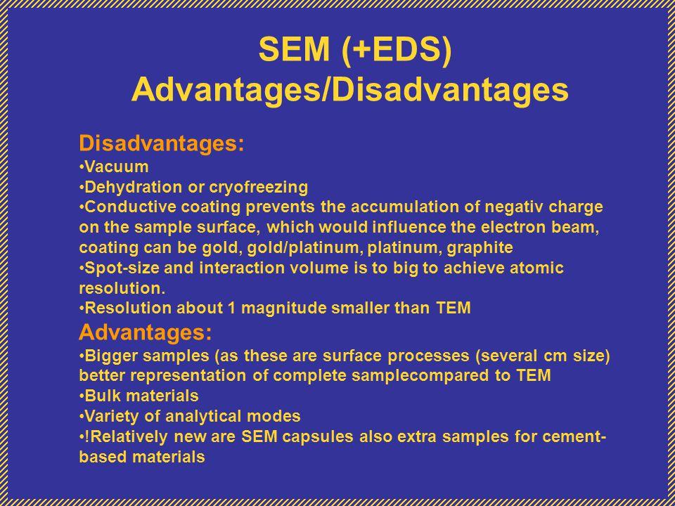 SEM (+EDS) Advantages/Disadvantages