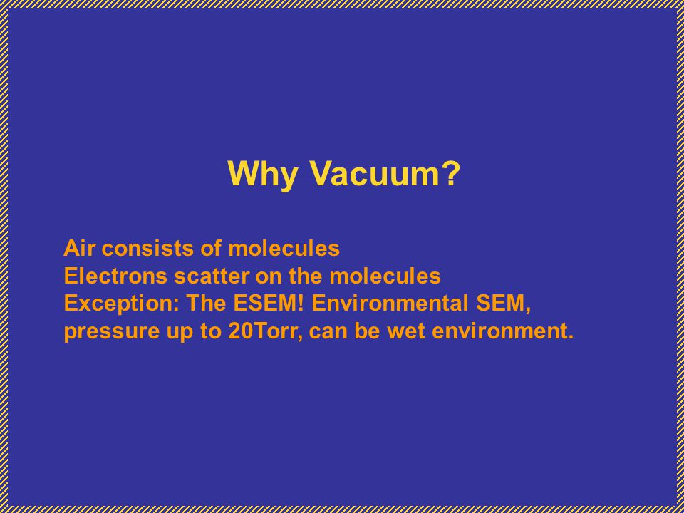 Why Vacuum Air consists of molecules