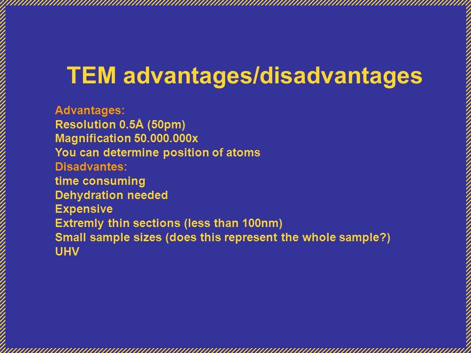 TEM advantages/disadvantages