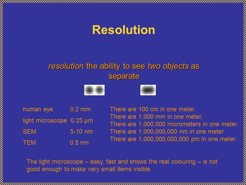 resolution the ability to see two objects as separate