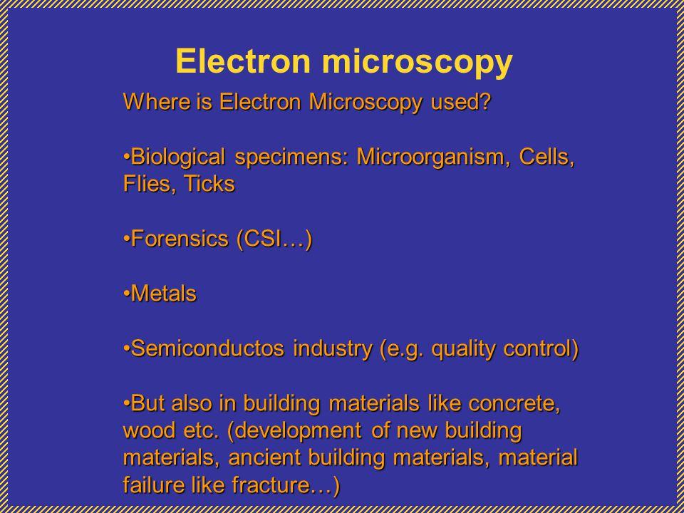 Electron microscopy Where is Electron Microscopy used