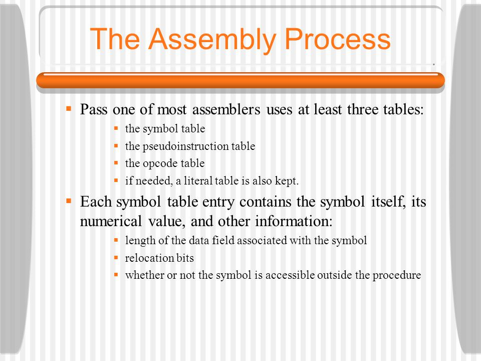 The Assembly Process Pass one of most assemblers uses at least three tables: the symbol table. the pseudoinstruction table.