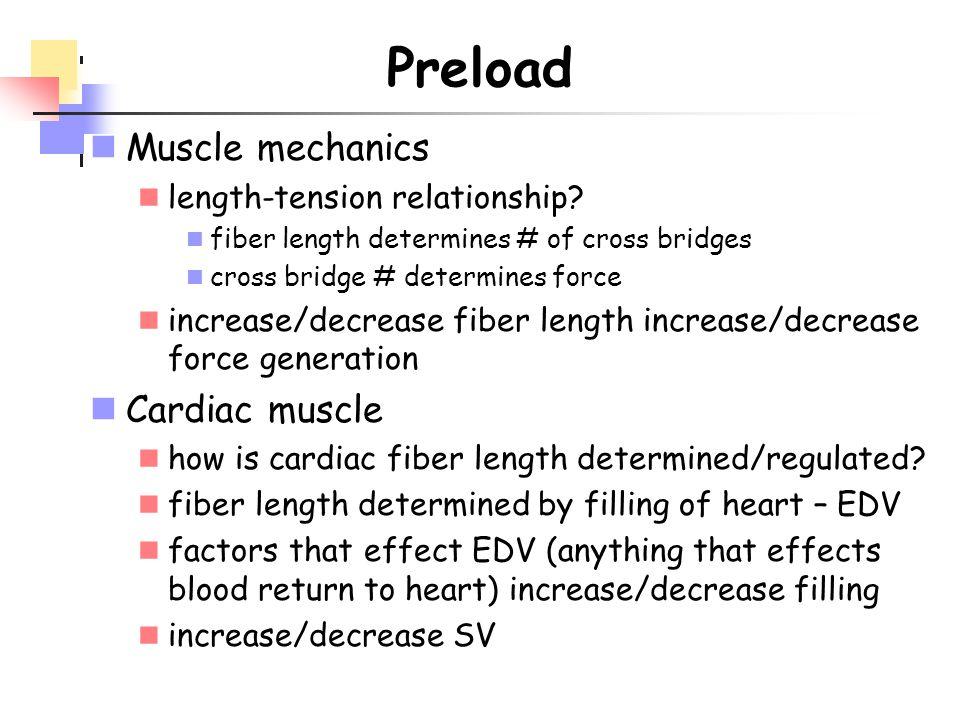 Preload Muscle mechanics Cardiac muscle length-tension relationship