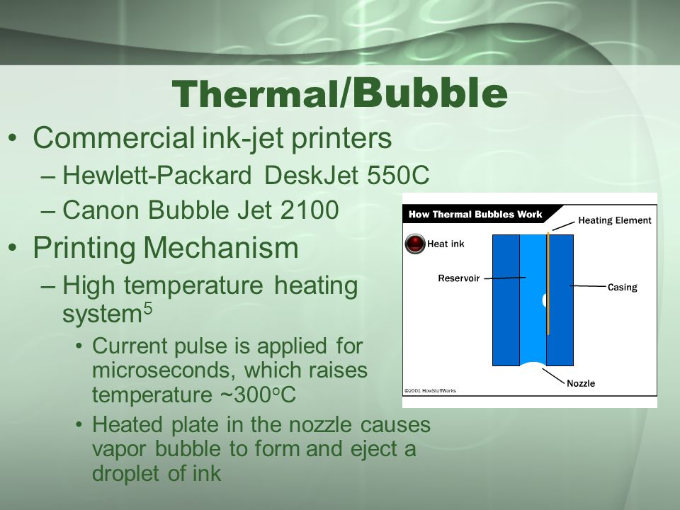 Thermal/Bubble Commercial ink-jet printers Printing Mechanism