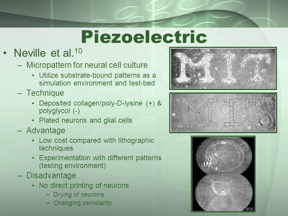 Piezoelectric Neville et al.10 Micropattern for neural cell culture