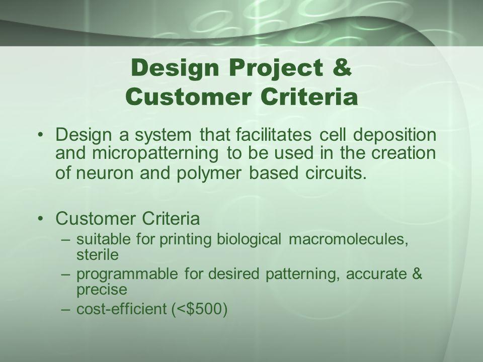 Design Project & Customer Criteria