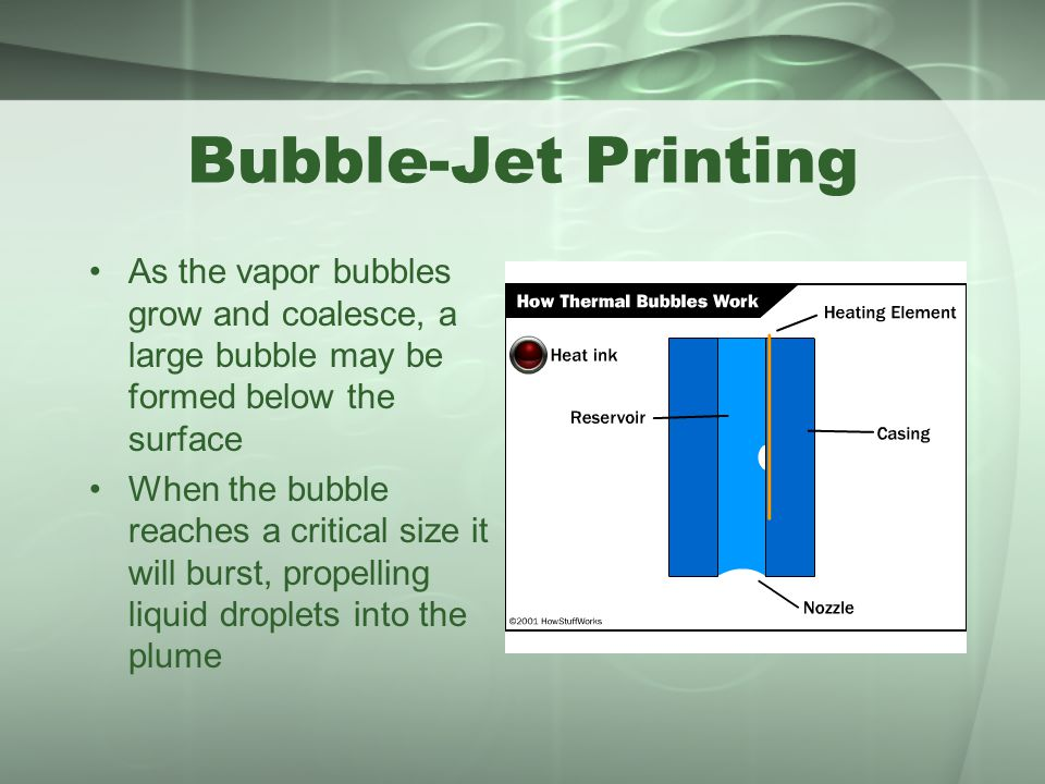 Bubble-Jet Printing As the vapor bubbles grow and coalesce, a large bubble may be formed below the surface.