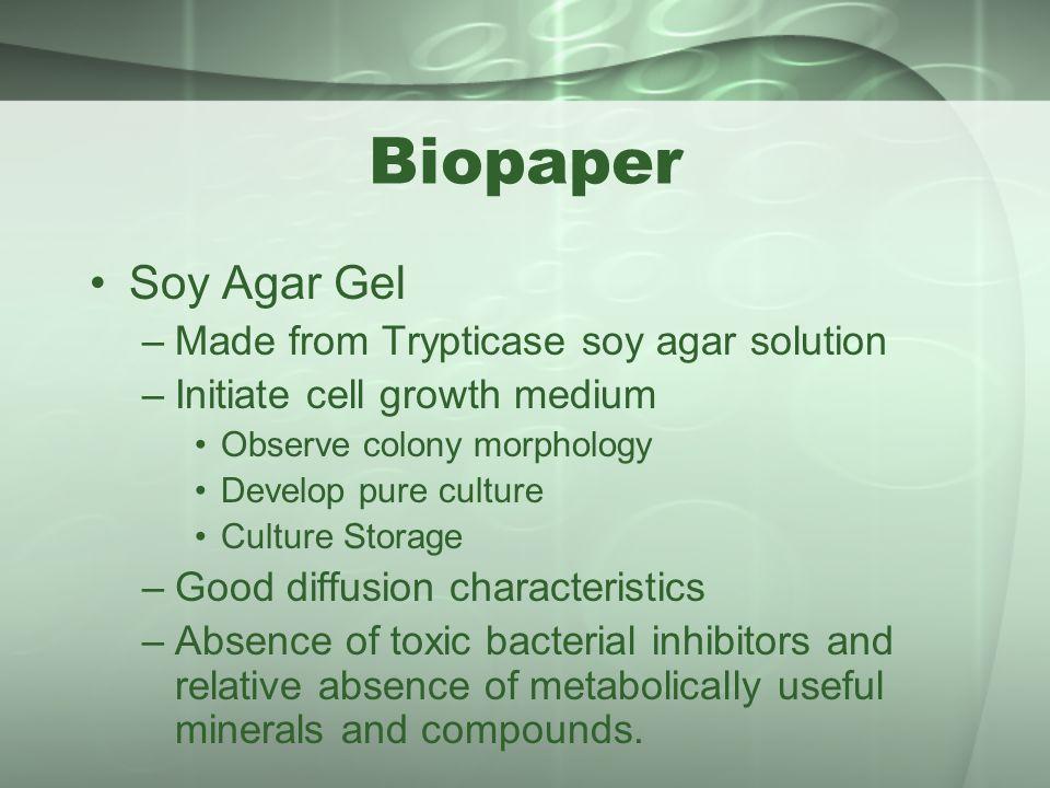 Biopaper Soy Agar Gel Made from Trypticase soy agar solution