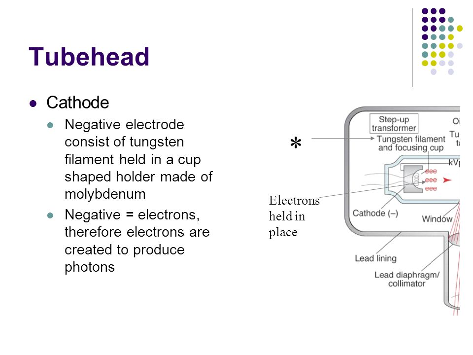 Tubehead Cathode. Negative electrode consist of tungsten filament held in a cup shaped holder made of molybdenum.