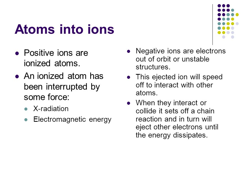 Atoms into ions Positive ions are ionized atoms.