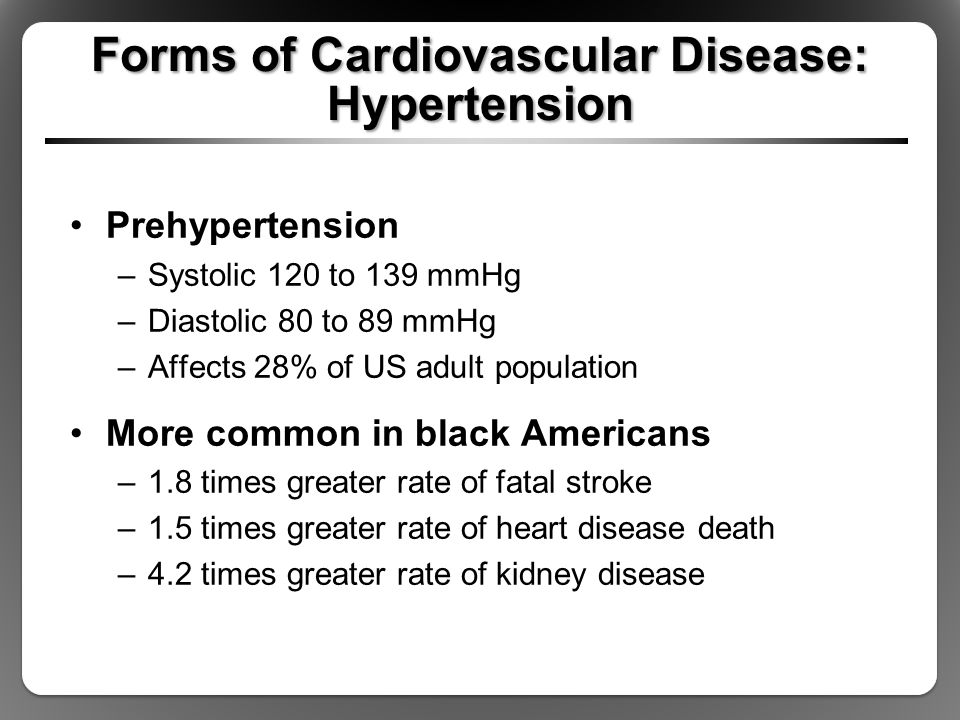 Forms of Cardiovascular Disease: Hypertension