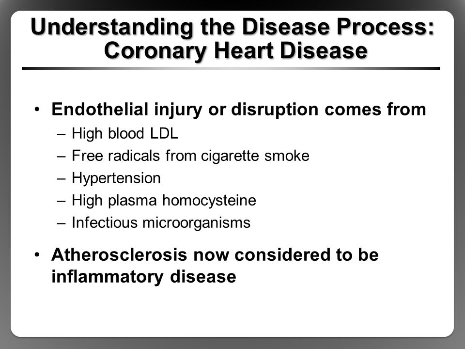 Understanding the Disease Process: Coronary Heart Disease