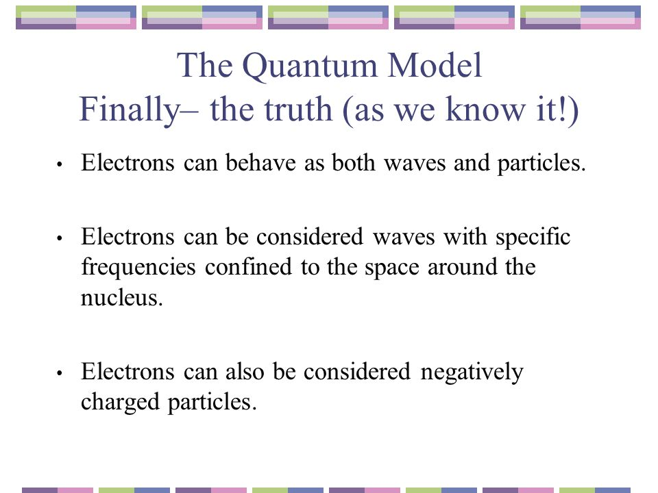 The Quantum Model Finally– the truth (as we know it!)