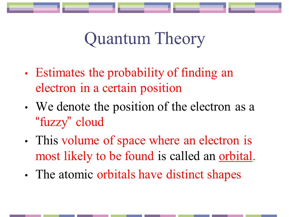 Quantum Theory Estimates the probability of finding an electron in a certain position. We denote the position of the electron as a fuzzy cloud.