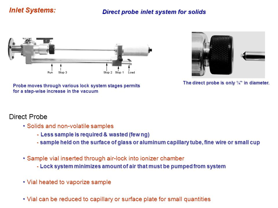 Direct probe inlet system for solids