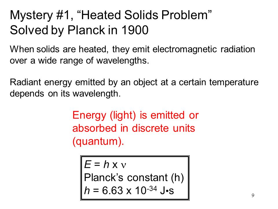 Mystery #1, Heated Solids Problem Solved by Planck in 1900
