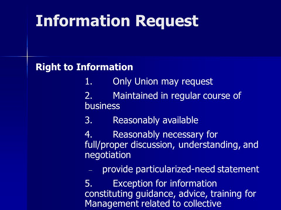 Information Request Right to Information 1. Only Union may request
