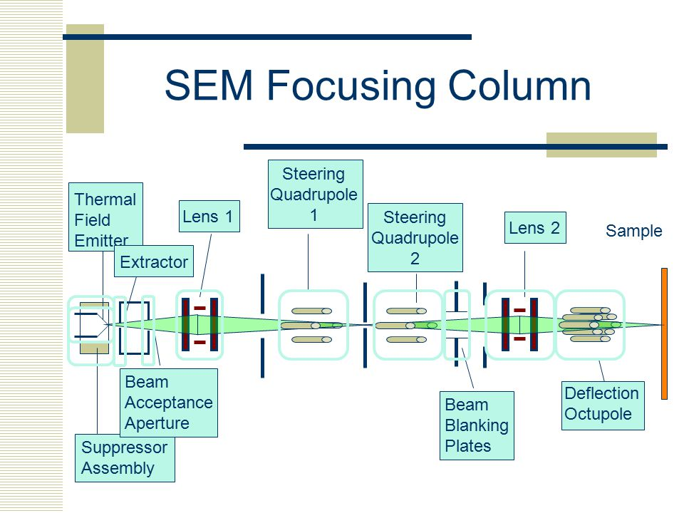 SEM Focusing Column Steering Quadrupole 1 Thermal Field Emitter Lens 1