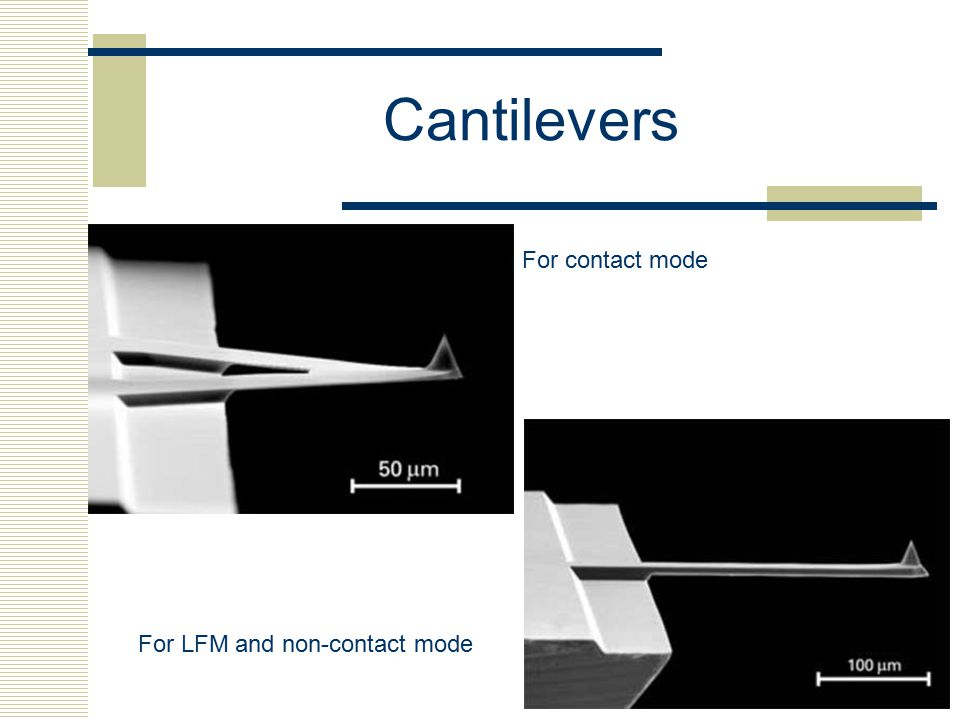 Cantilevers For contact mode For LFM and non-contact mode