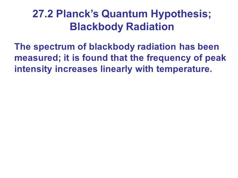 27.2 Planck's Quantum Hypothesis; Blackbody Radiation