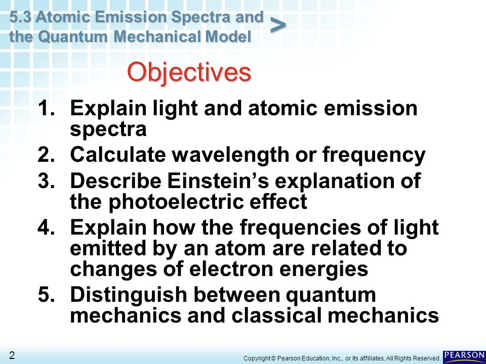Objectives Explain light and atomic emission spectra