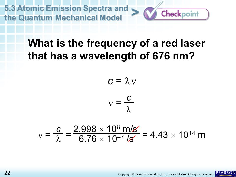 What is the frequency of a red laser that has a wavelength of 676 nm