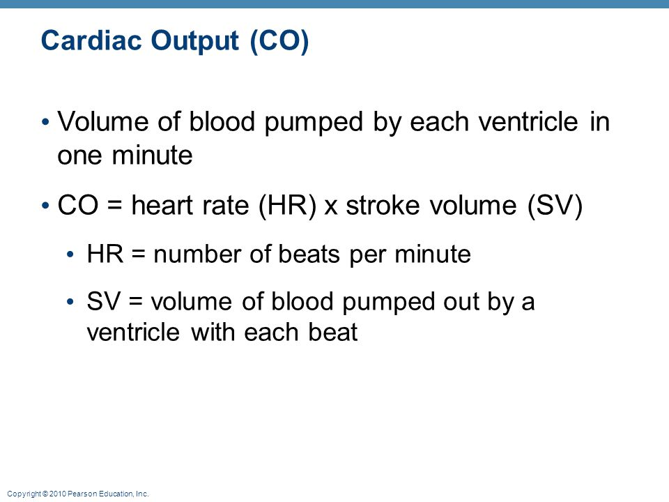 Volume of blood pumped by each ventricle in one minute