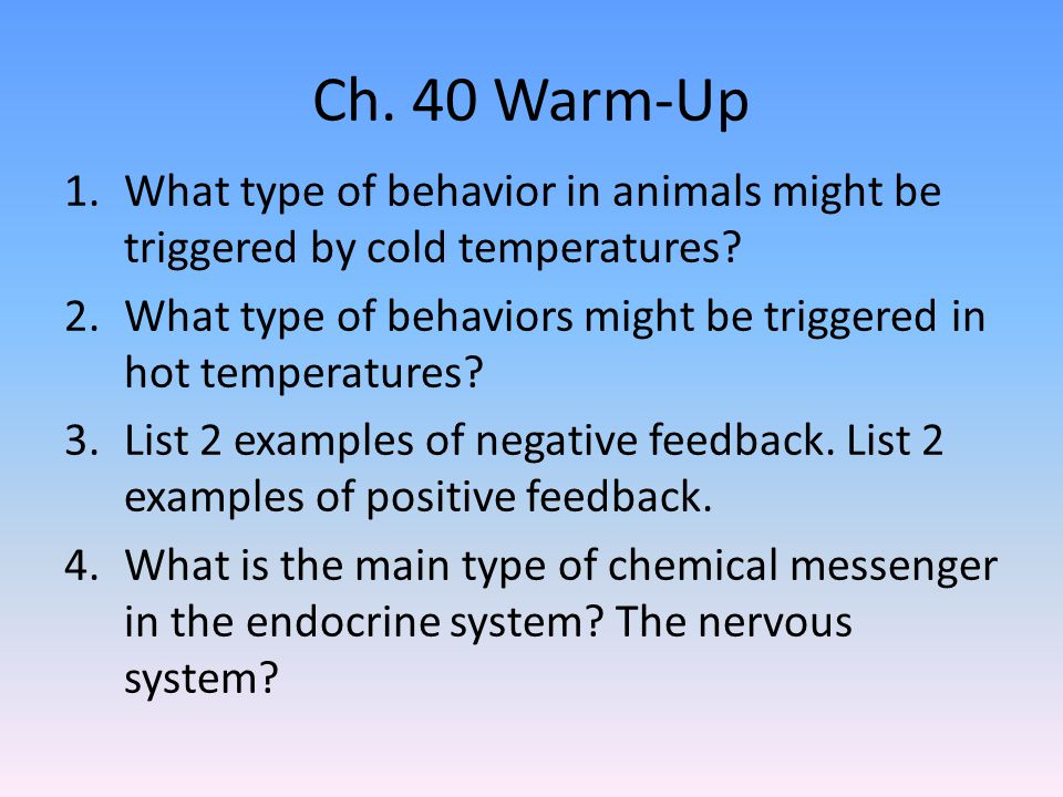 Ch. 40 Warm-Up What type of behavior in animals might be triggered by cold temperatures