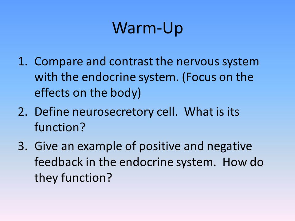 Warm-Up Compare and contrast the nervous system with the endocrine system. (Focus on the effects on the body)
