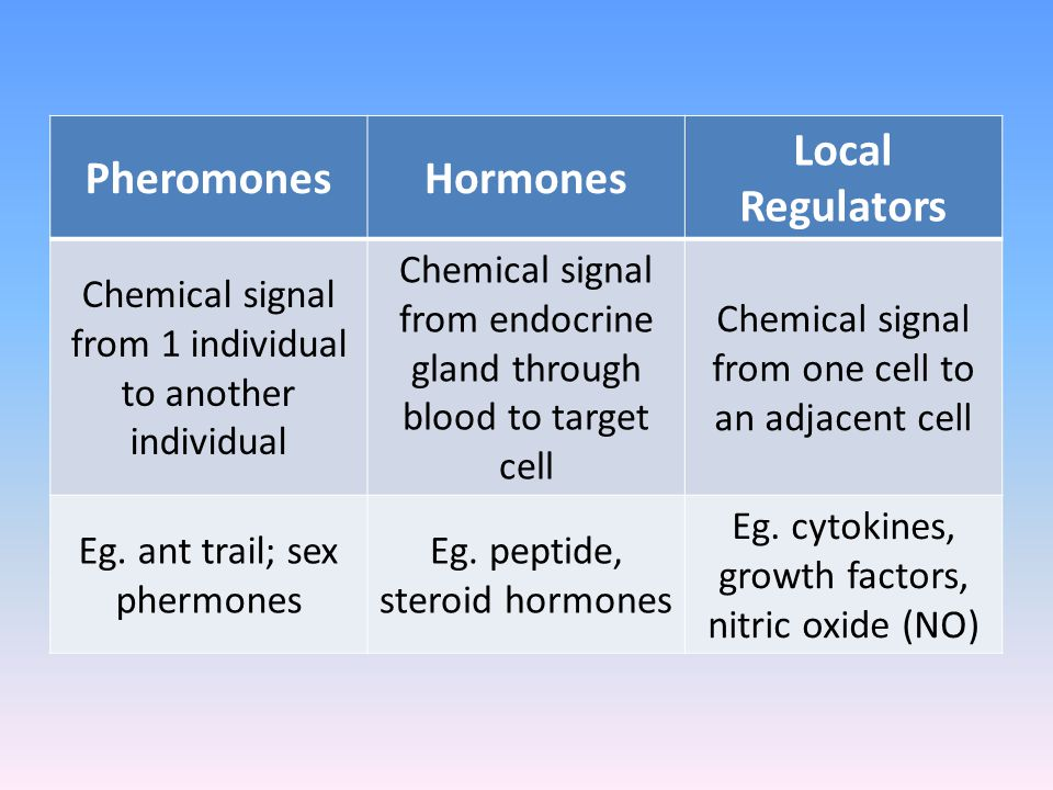 Pheromones Hormones Local Regulators