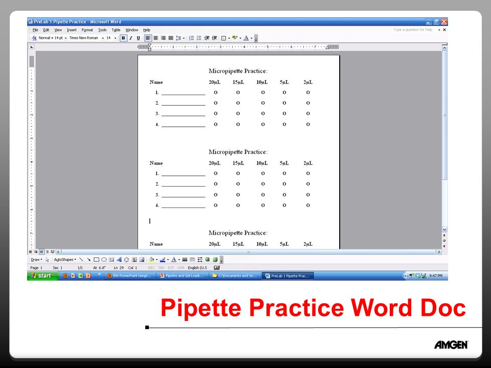Pipette Practice Word Doc