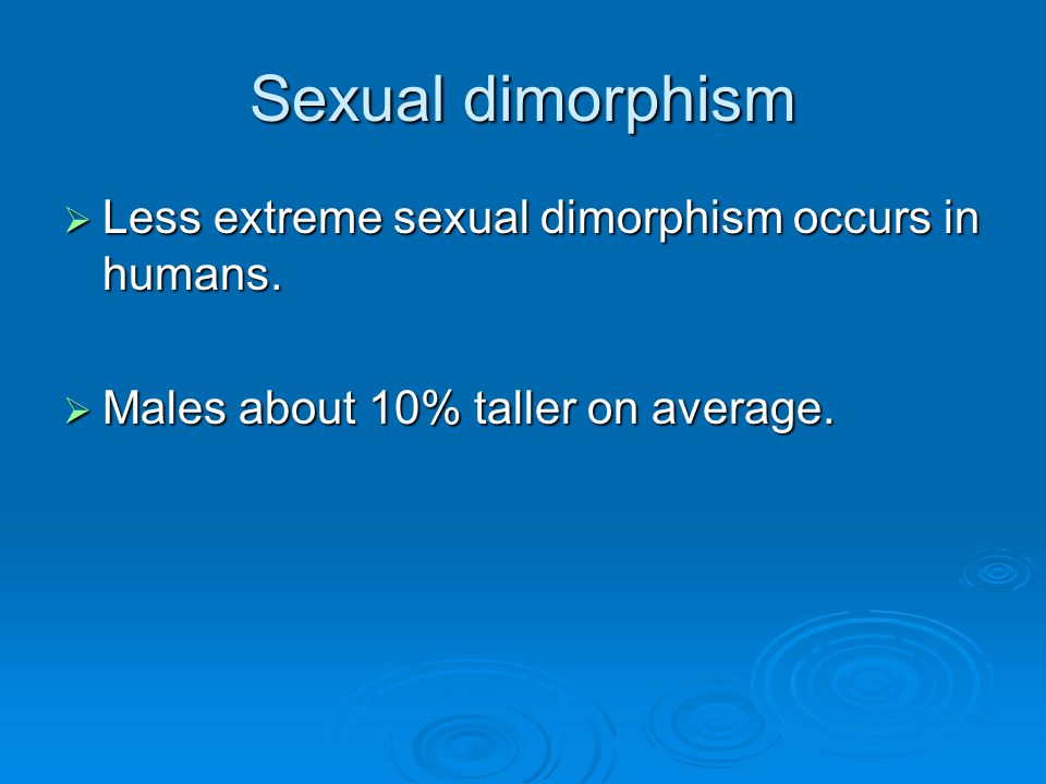 Sexual dimorphism Less extreme sexual dimorphism occurs in humans.