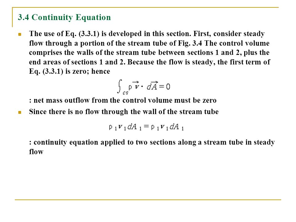 3.4 Continuity Equation
