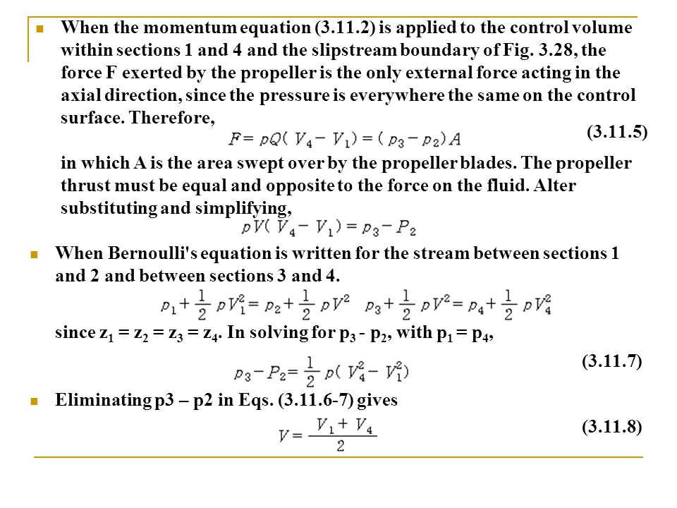 When the momentum equation (3. 11