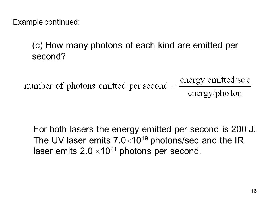 (c) How many photons of each kind are emitted per second