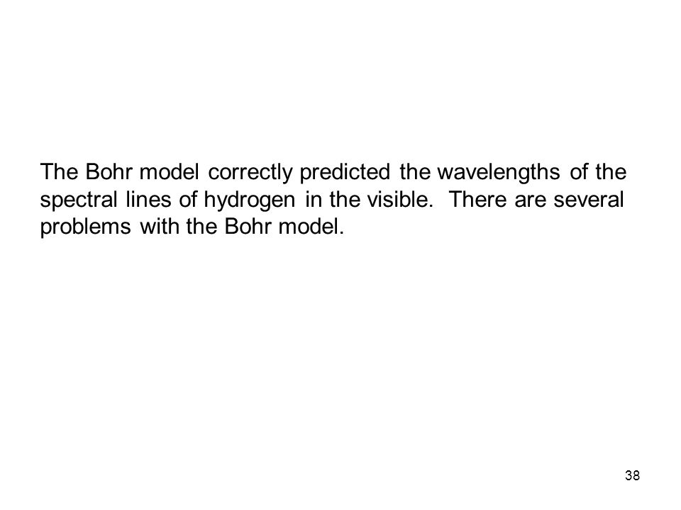 The Bohr model correctly predicted the wavelengths of the spectral lines of hydrogen in the visible.