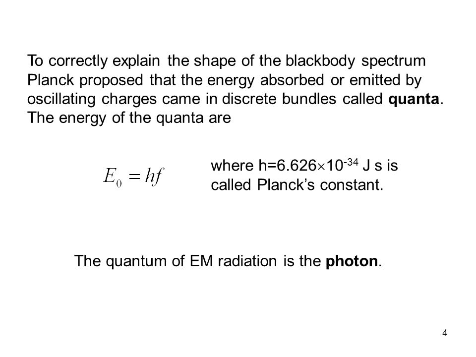 To correctly explain the shape of the blackbody spectrum Planck proposed that the energy absorbed or emitted by oscillating charges came in discrete bundles called quanta. The energy of the quanta are