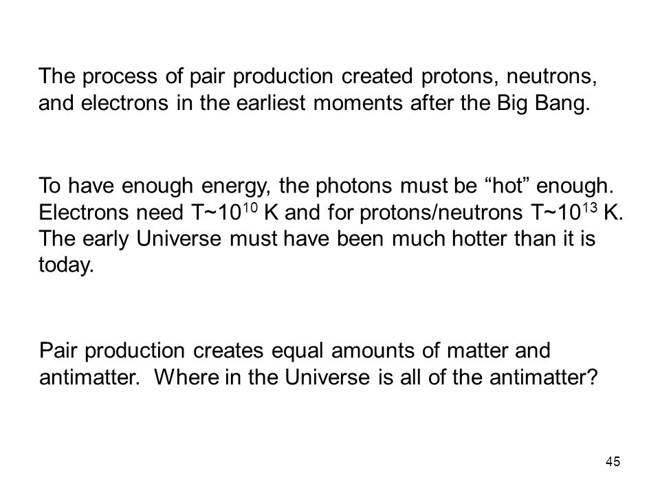 The process of pair production created protons, neutrons, and electrons in the earliest moments after the Big Bang.