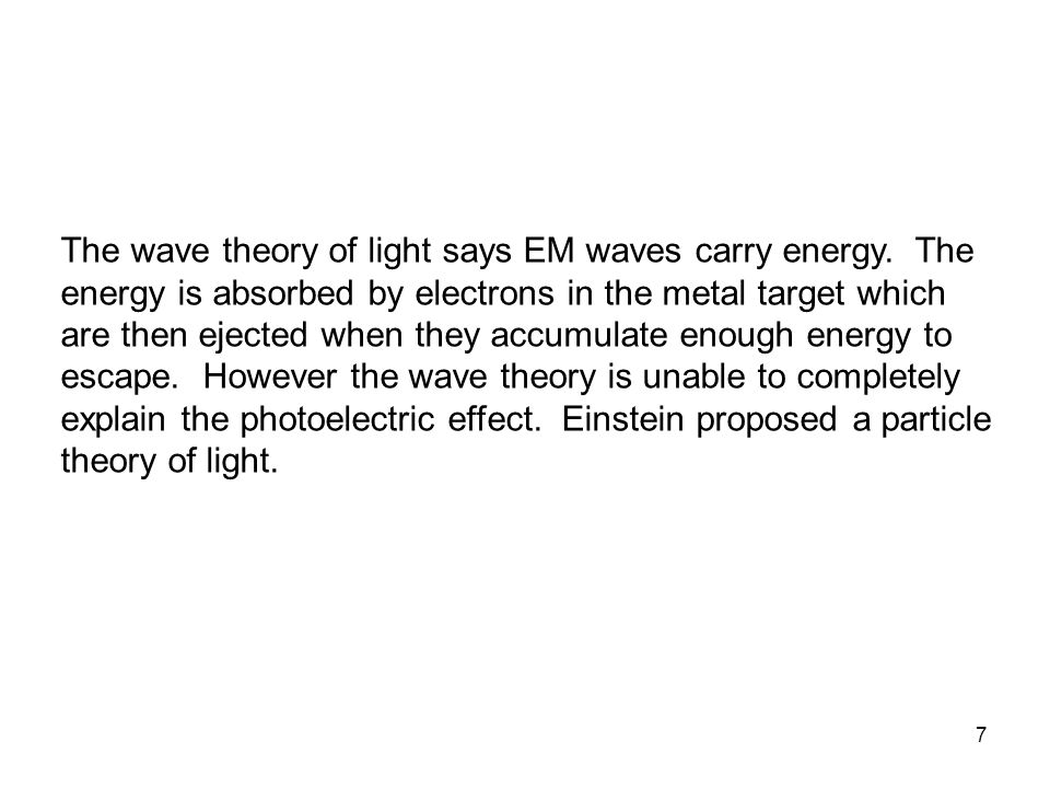 The wave theory of light says EM waves carry energy