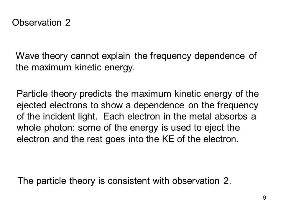 Observation 2 Wave theory cannot explain the frequency dependence of the maximum kinetic energy.