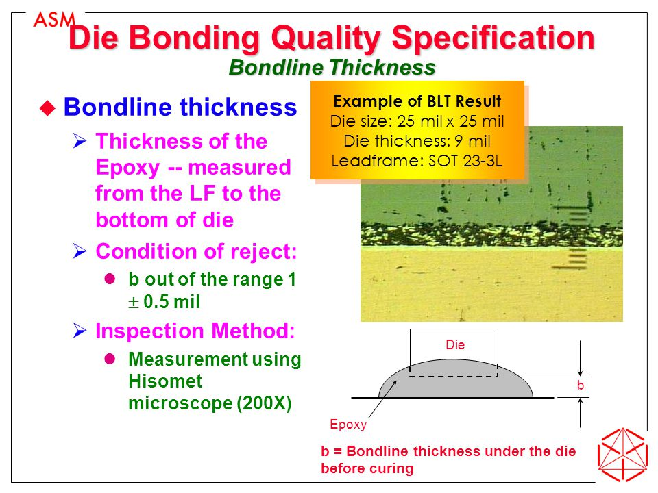 Die Bonding Quality Specification Bondline Thickness