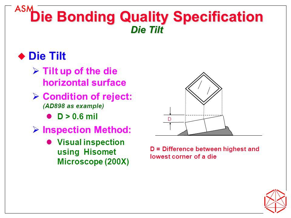 Die Bonding Quality Specification Die Tilt