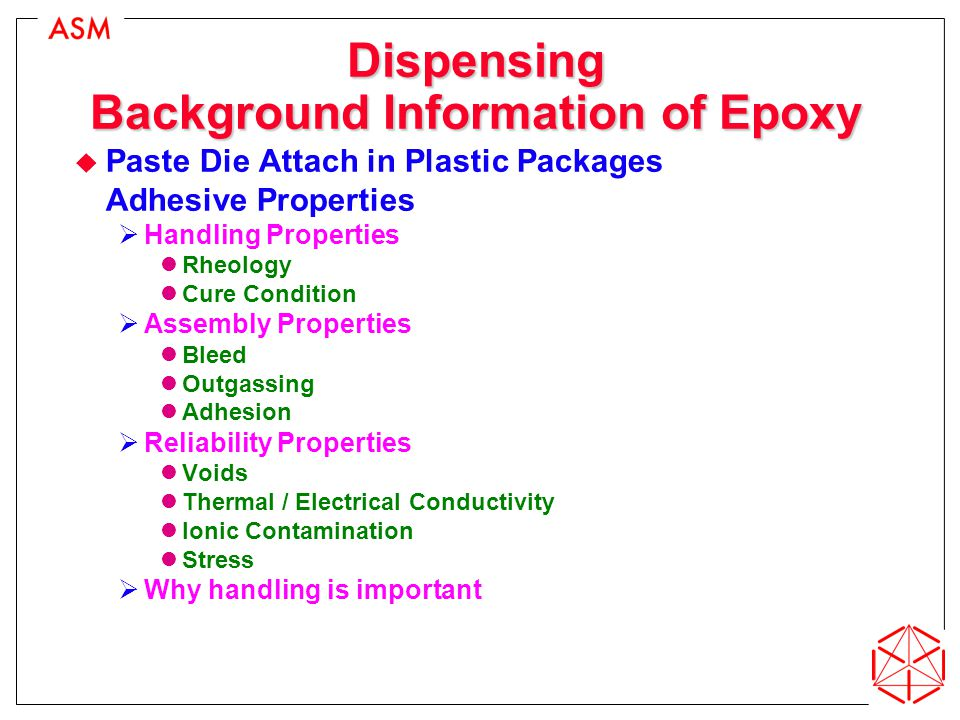 Dispensing Background Information of Epoxy