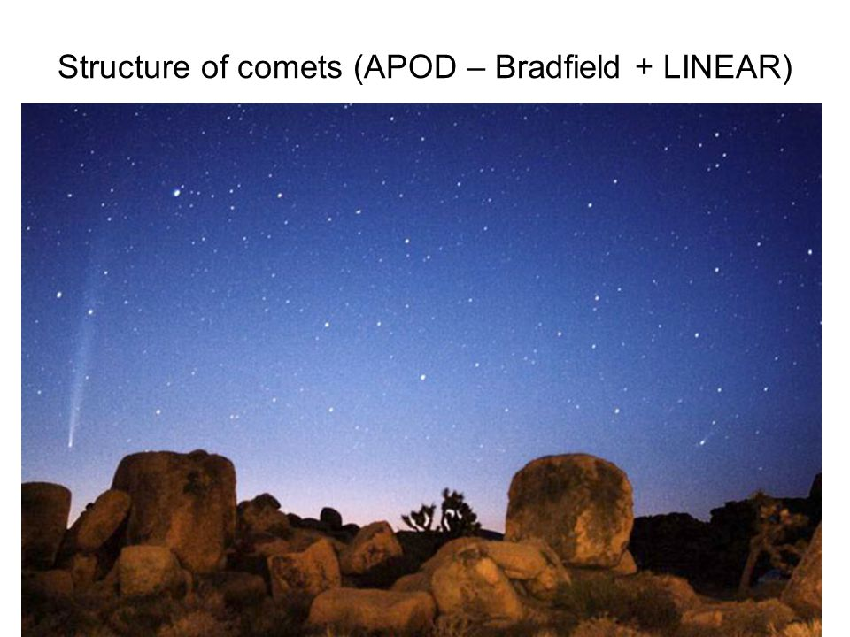 Structure of comets (APOD – Bradfield + LINEAR)