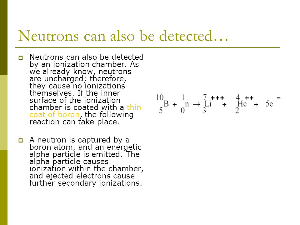 Neutrons can also be detected…