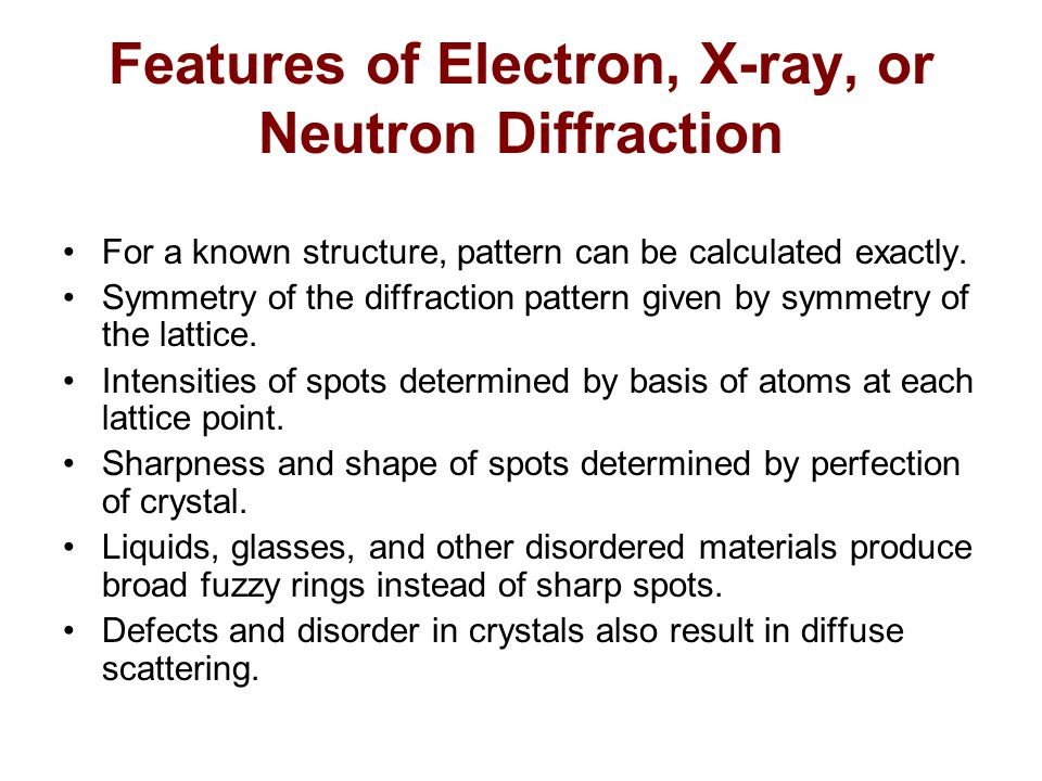 Features of Electron, X-ray, or Neutron Diffraction